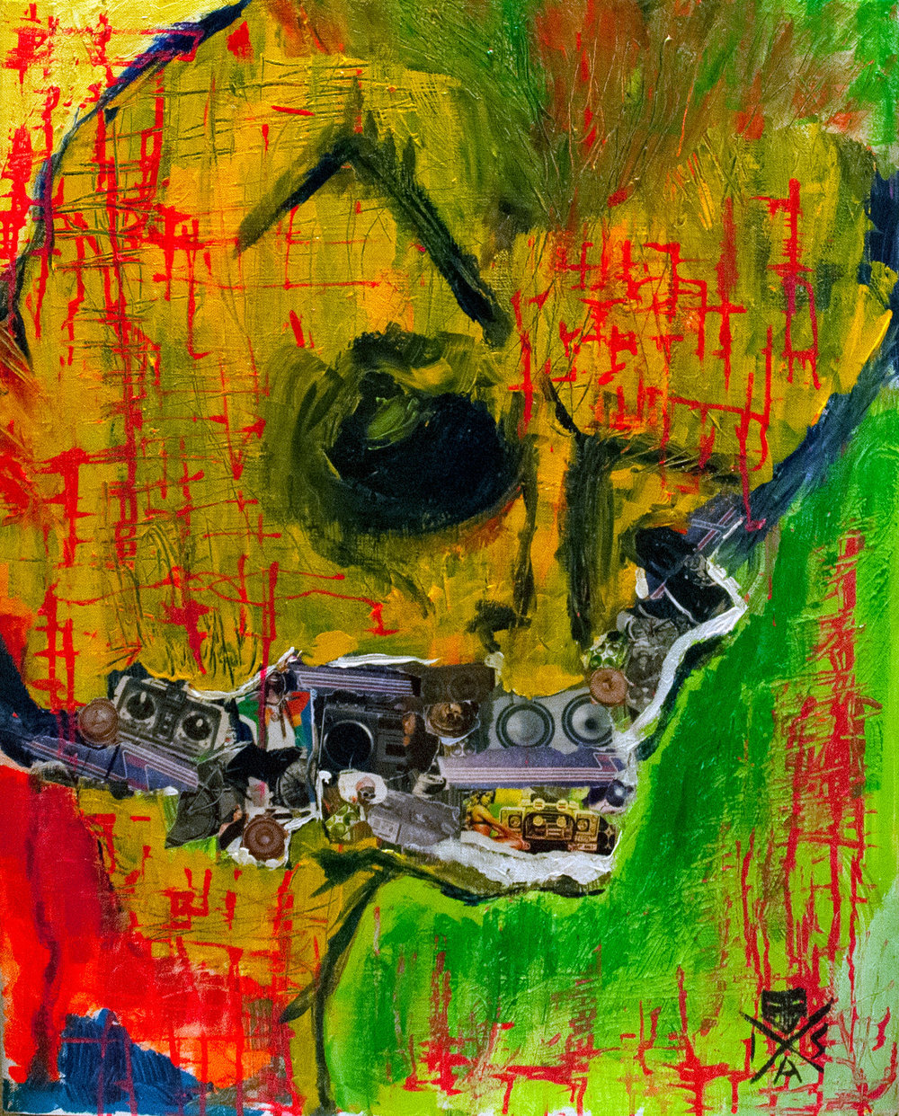 "Eze Skull. 2019. Mixed media. Acrylic and magazine collage on canvas. 24"" x 30"". $250"