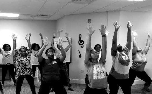 Truth Tabernacle Dance Workshop attendees exploring praise dance through Michael Chekhov's  Psychological Gesture .