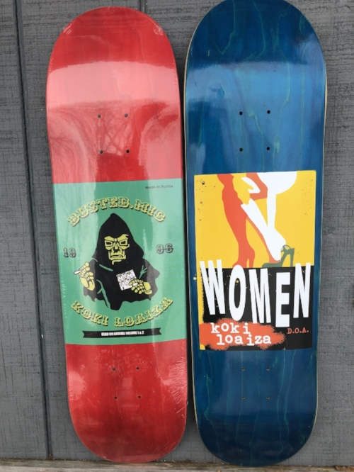 On the left is our new collaboration deck and on the right is Koki's first pro model for D.O.A.