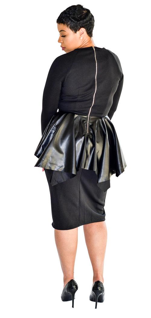 Pretty In Peplum Midi Dress Addicted To Black