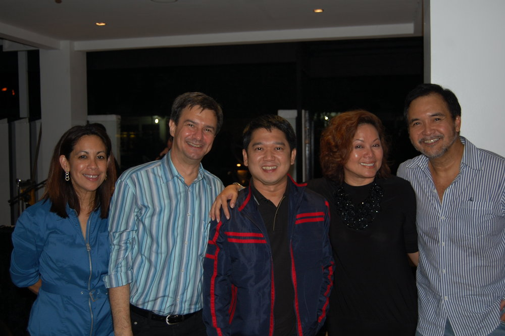 Sandie and Enzo Squillantini with Quezon City Mayor Herbert Bautista, Ivy Almario and Yong Nieva