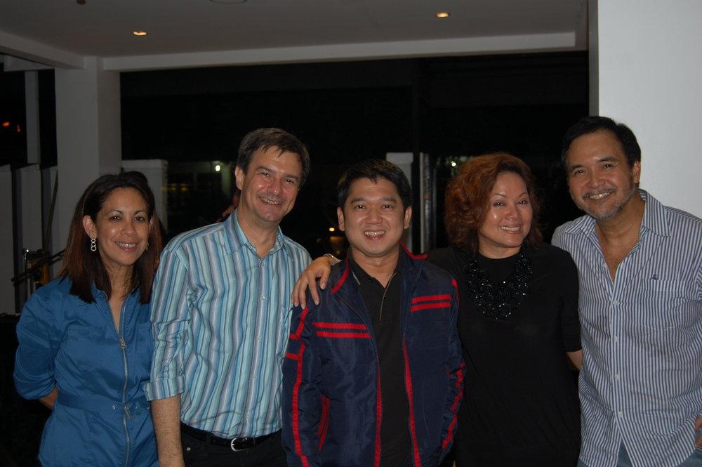 Sandie and Enzo Squillantini with Quezon City Mayor Herbert Bautista, Ivy Almario and Yong Nieva