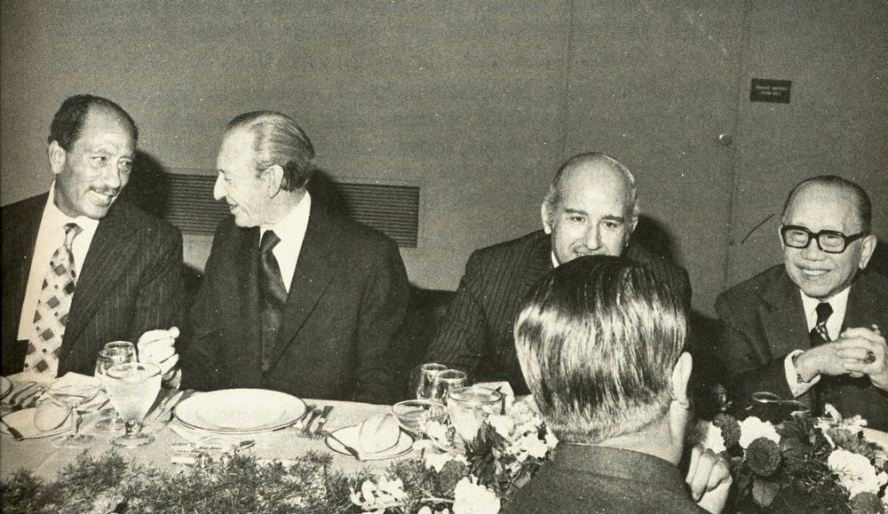 With Egyptian Pres. Anwar Sadat and Kurt Waldheim