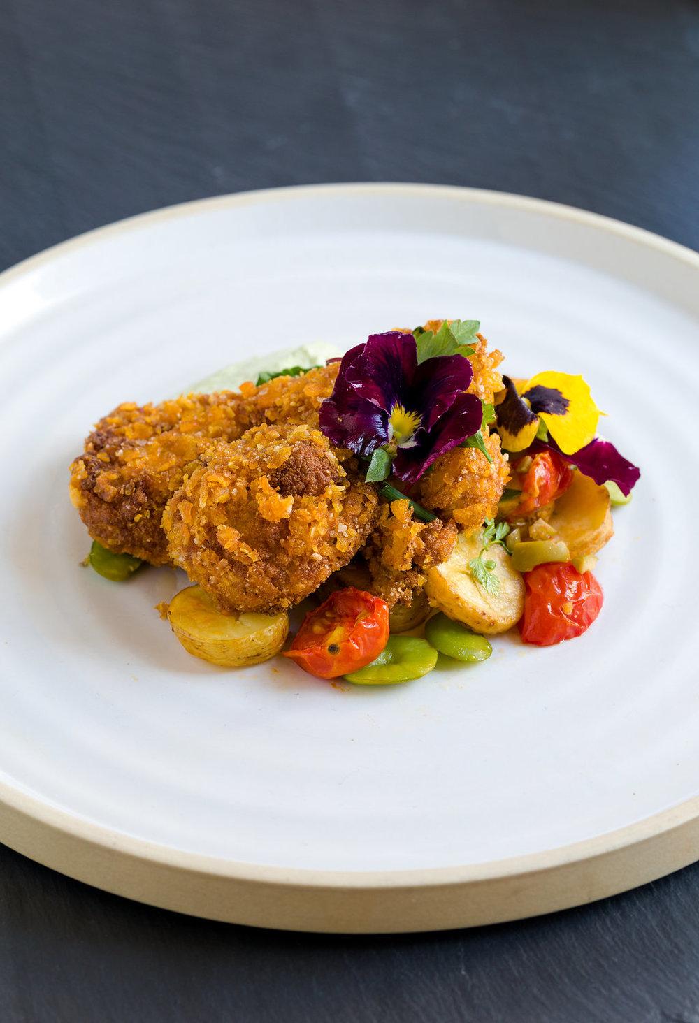 Mock Fried Chicken with Vegan Green Goddess Dressing, Warm Fingerling Potato Salad_v.jpg