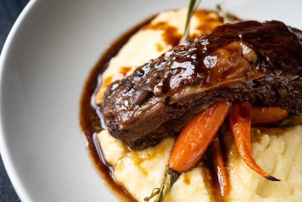 Braised Short Rib – Creamy Polenta, Heirloom Baby Carrots, Bourbon Glaze_9.20.18__Chip Klose1.jpg