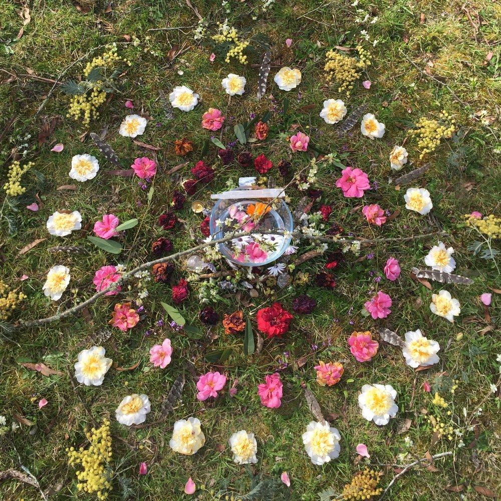 quan yin goddess altar sacred circle flower essence