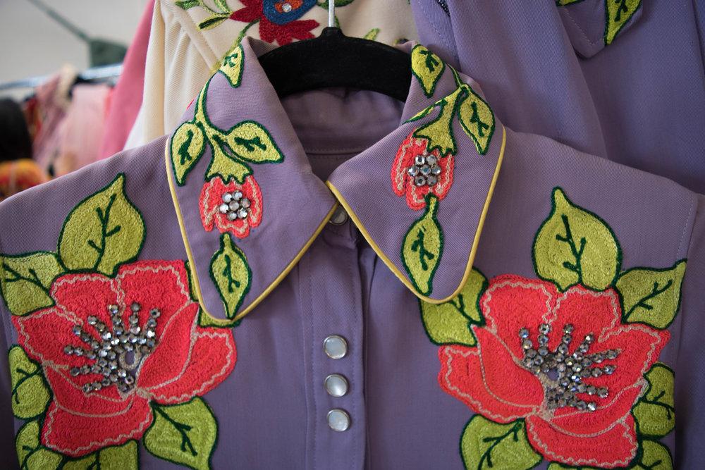 Purple Flower + Rhinestone Embroidered Purple Two-Piece, $1,200,      Relic Vintage SF