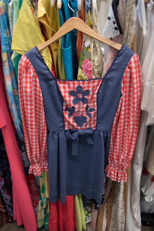Late 60s Folk Mini Dress (XS), $68,  Love Street Vintage