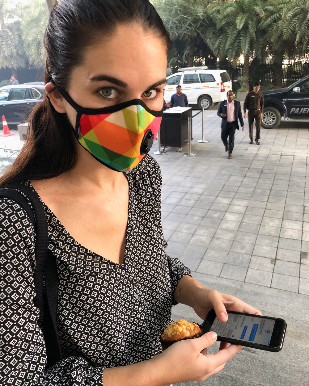 Me, 2017 - More recent me in my go-to meeting presentation shirt—oh, and a statement piece smog mask on one of my favorite work trips in New Delhi, India.