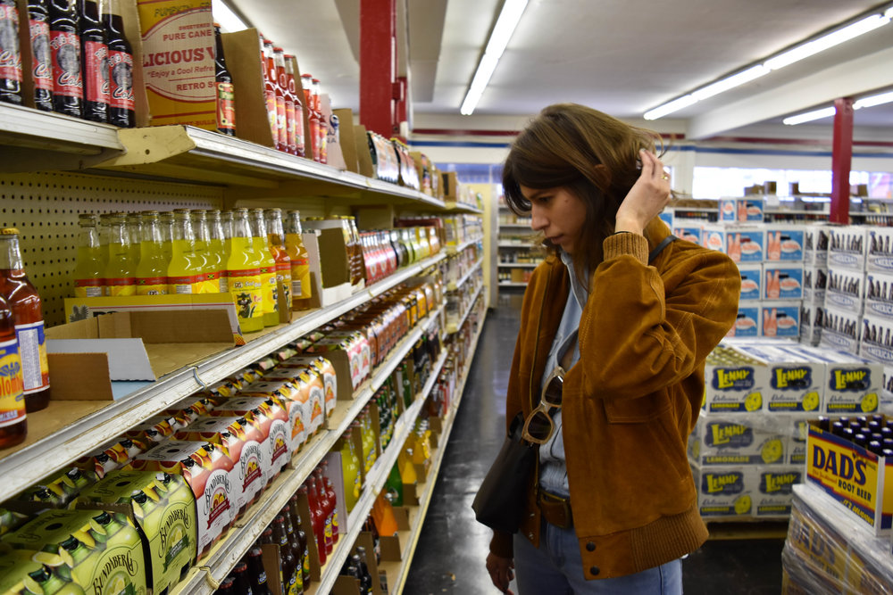 Gabrielle hangs out in a Canadian tuxedo from  Urban Outfitters  (jacket is vintage from  SquaresVille Vintage  in Los Feliz, CA) at  Galco's Old World Grocery  in Highland Park, CA.