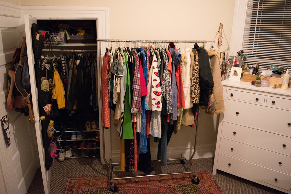 My current wardrobe—a lot of stuff I don't wear but do love!