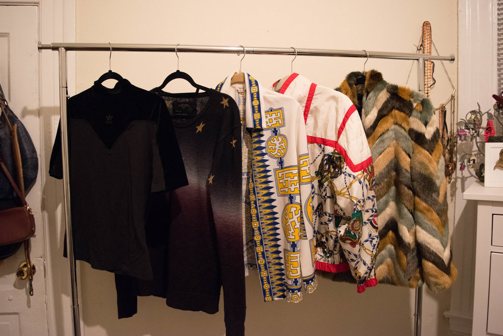 Capsules can be fun—I think!?... talk to me in 30 days.  From left to right:  Adidas  velvet shirt from  Wasteland ,  All Saints  men's sweater from  Buffalo Exchange , vintage 70s light jacket from the  Alameda Point Antiques Faire , vintage 80s jacket from the  Melrose Trading Post , and a  Guess  faux fur jacket from  Poshmark .