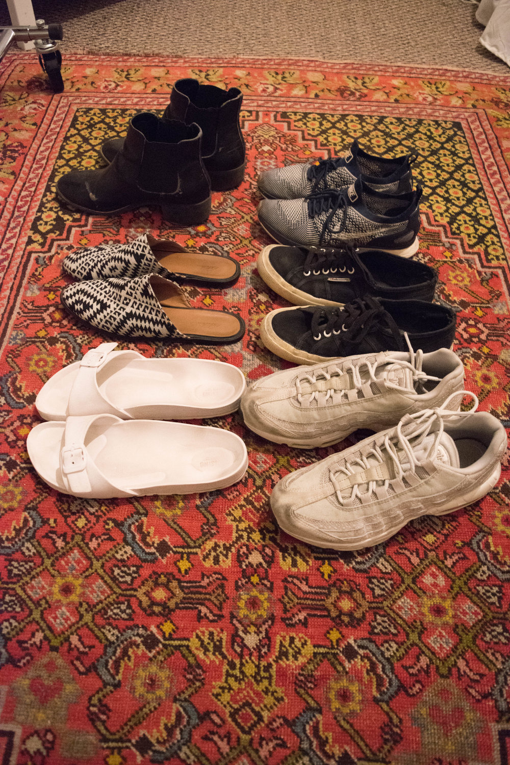 Two  Target  (white Mossimo Supply Co. sandals, Sam & Libby black boots), two  Nikes  (my everyday  fly knits  and my newish  Air Max 95s ), one pair of  Asos   Park Lane mules , and one pair of black  Supergas . Let's go!