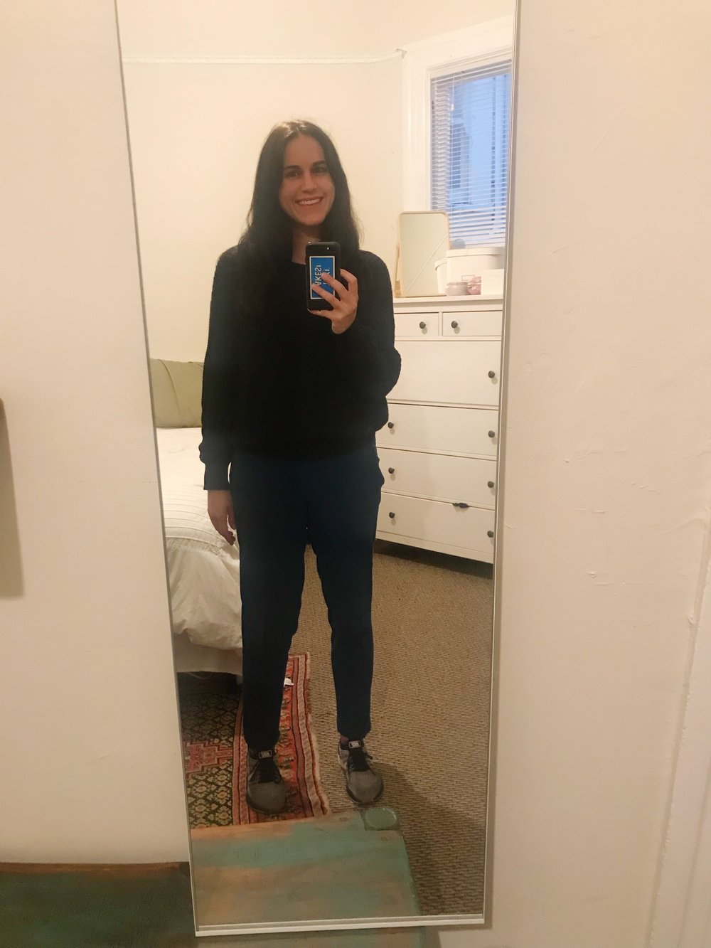 Here it goes. Mirror selfies. No going back from here. I'm wearing an  American Apparel  sweater,  Joie  pants, and  Nike shoes .