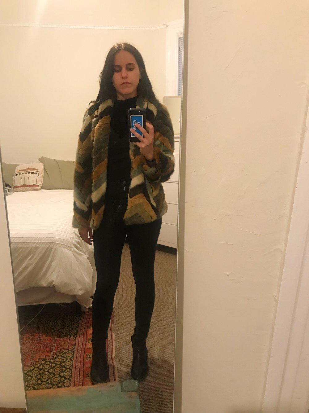 Me, again.  Guess  faux fur jacket from  Poshmark ,  Adidas  shirt from  Wasteland ,  American Apparel  pants, and  Target  Sam & Libby boots.