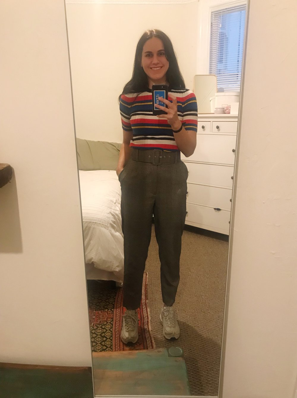 Happy to be here.  Forever 21  shirt,  Zara  pants, and my  Nike Air Max 95s .