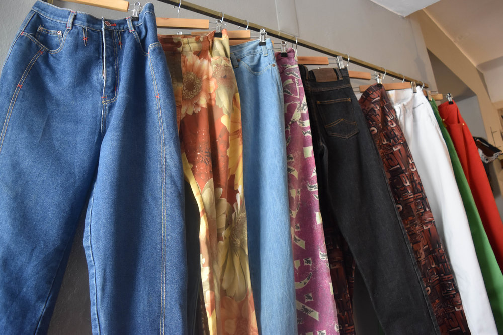 Some people have too many purses, shoes, or skincare products. High-waisted pants are my weakness. This place had many color, pattern, and size options. (I somehow resisted.)