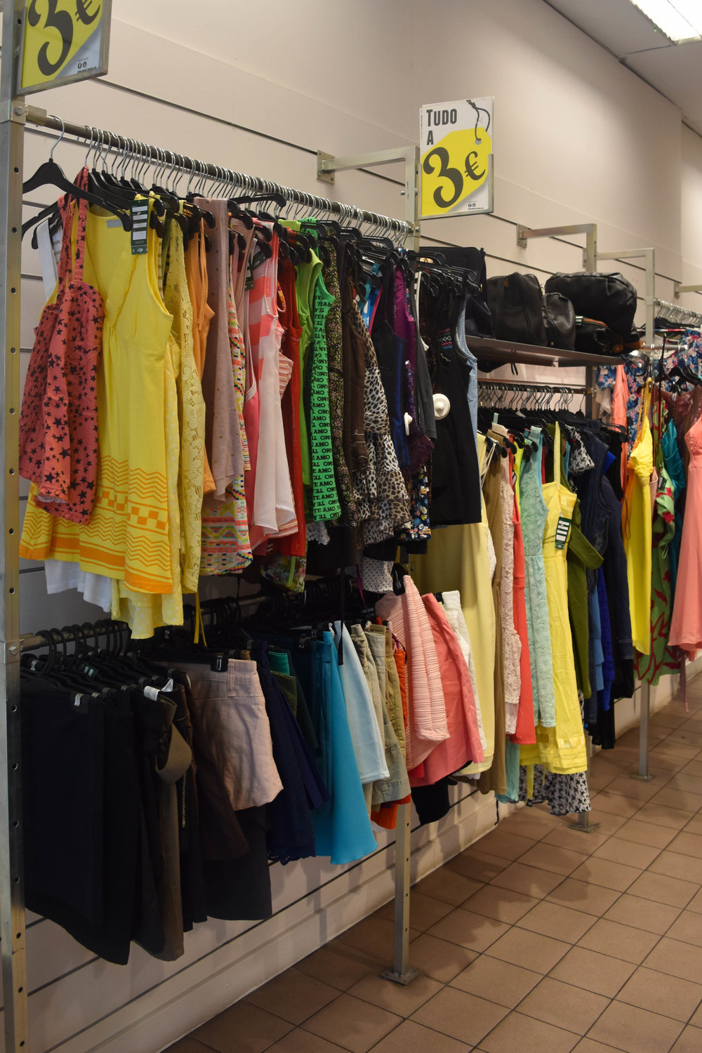 Bright colored secondhand pieces from local mall stores.