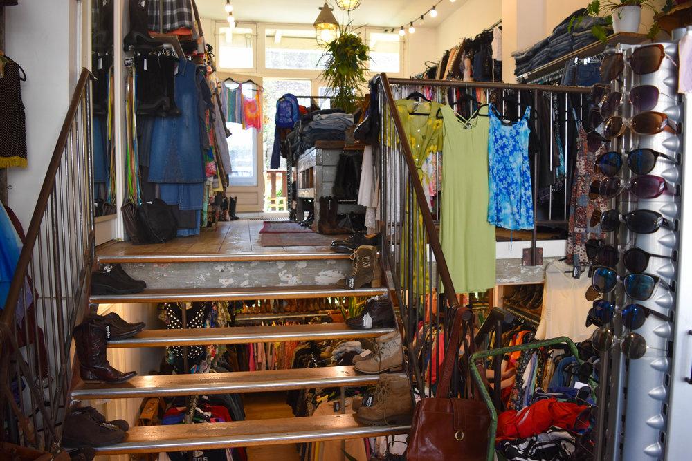 The store includes two floors—women's wear on the top floor, men's below.