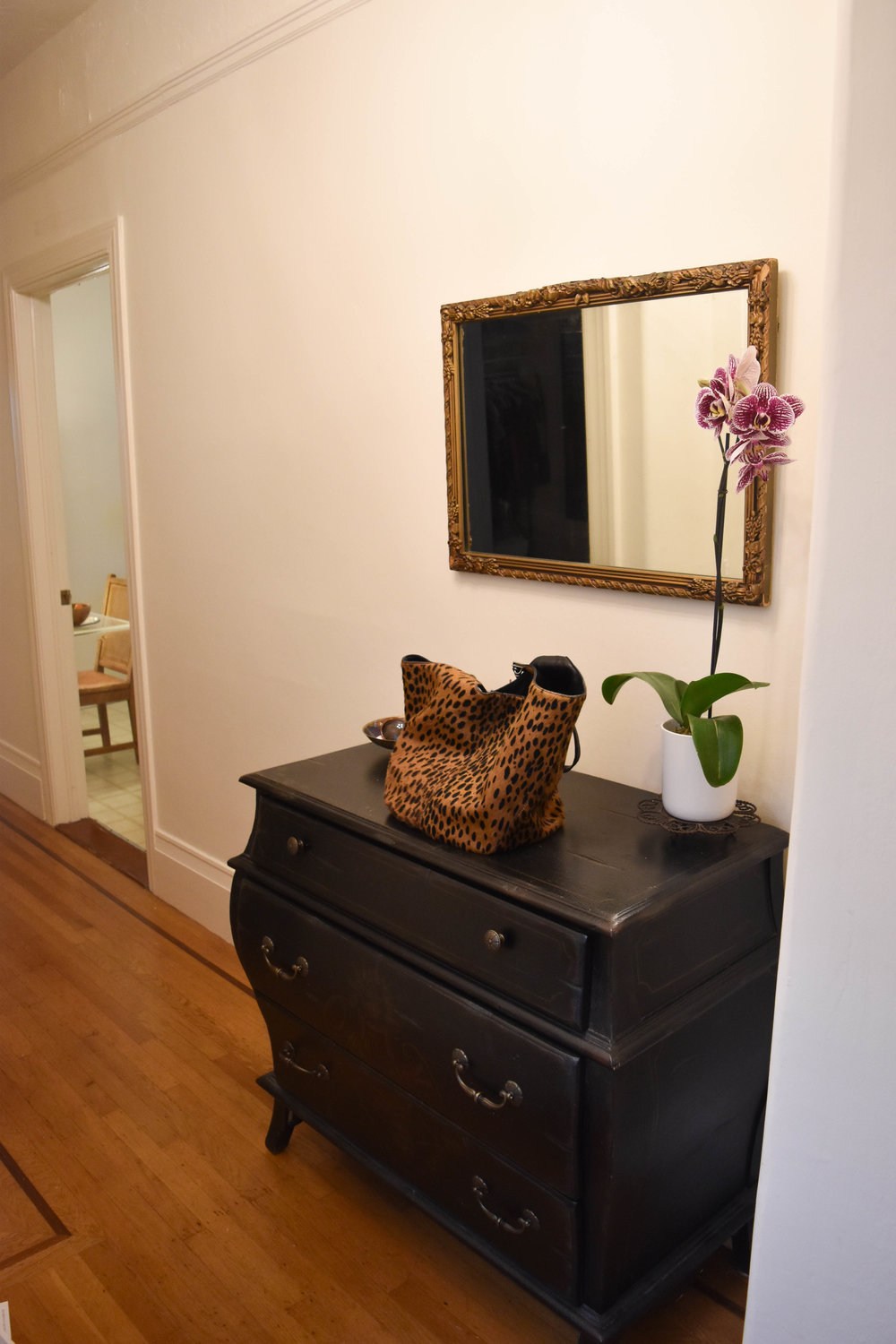 Chicness x2—Charlotte's entrance way and  Elizabeth and James  leopard print bag.