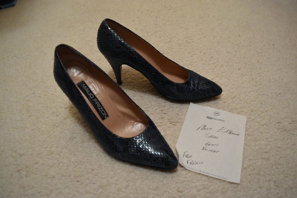 """""""Most expensive shoes Gene bought. From France."""""""