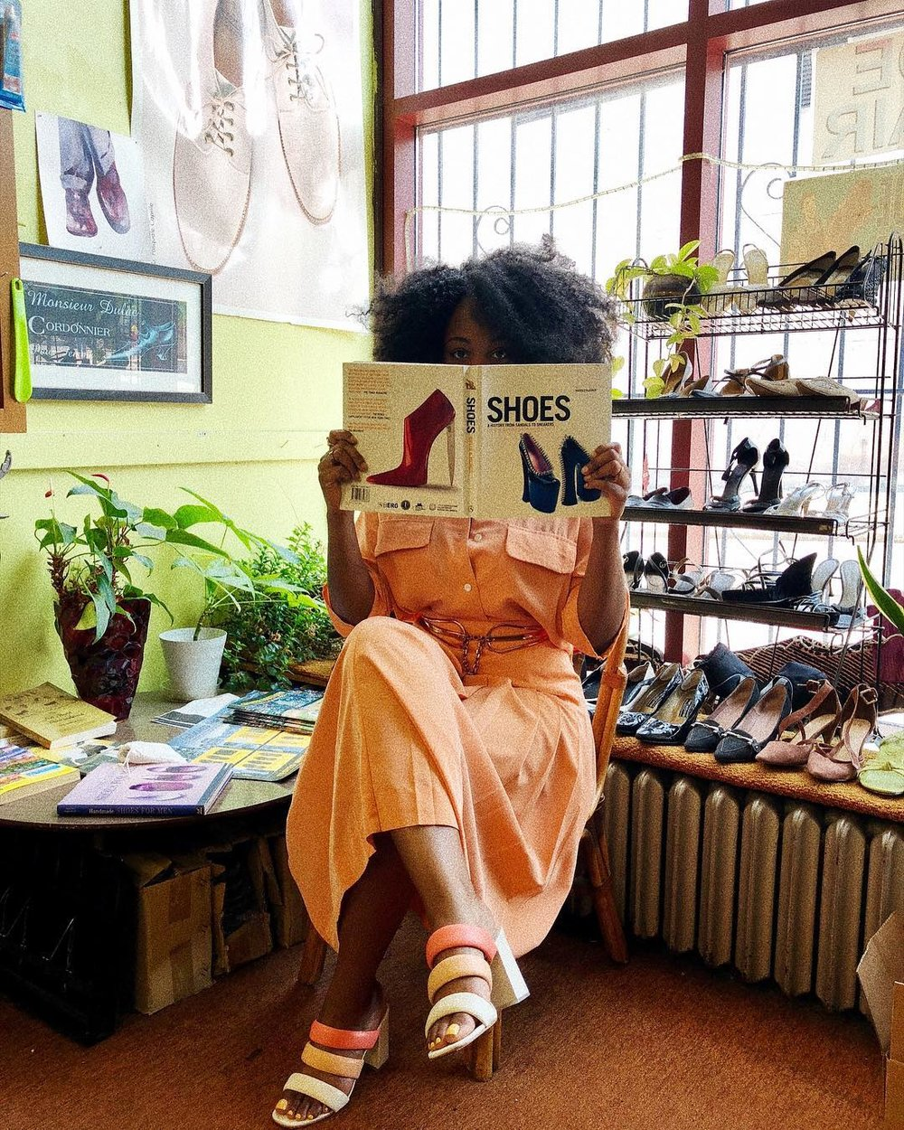 Let's get some  shoes . The peach two piece is vintage  Burberry  from  The Vault RI , and the shoes are  Matisse  from  The RealReal .