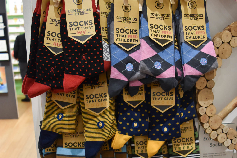 These socks do good.  Conscious Step  (clever) makes premium fair-trade, organic, vegan socks matched to different charitable impacts.
