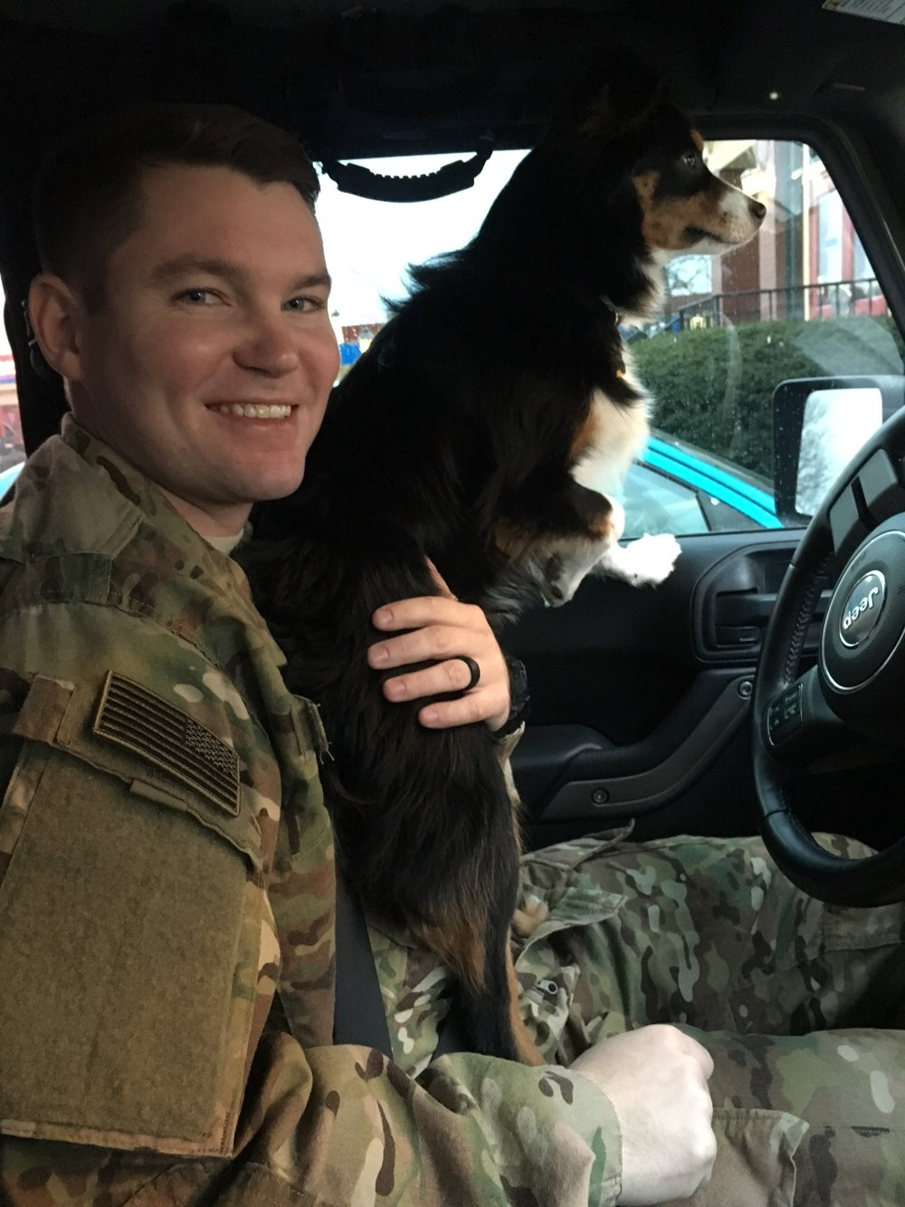 Enjoying a final Jeep ride with his favorite co-pilot