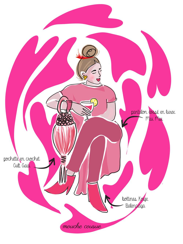 illustration mouche cousue - rose overdose