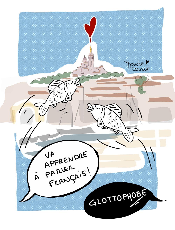 Illustration mouche cousue - Marseille, je t'aime