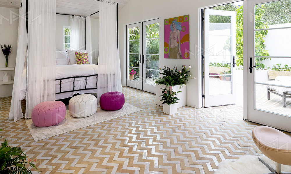 Moroccan floors in the master bedroom