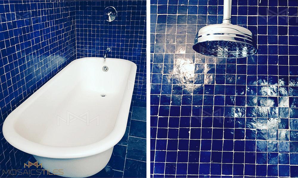 Handmade 2'x2' moroccan blue zellige tiles