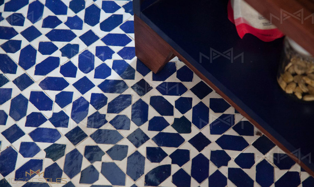 Moroccan zellige tiles in kitchen floor, New York City