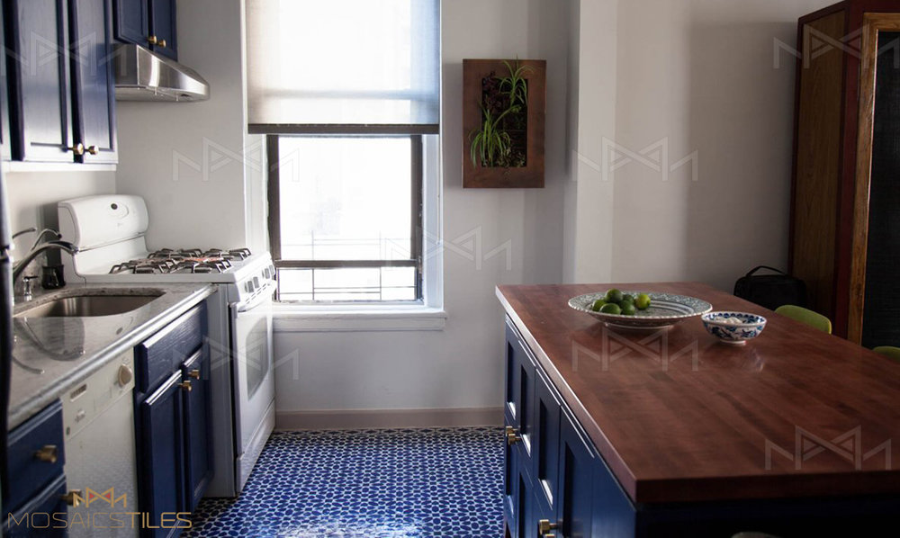 Handmade tiles in moroccan blue and white