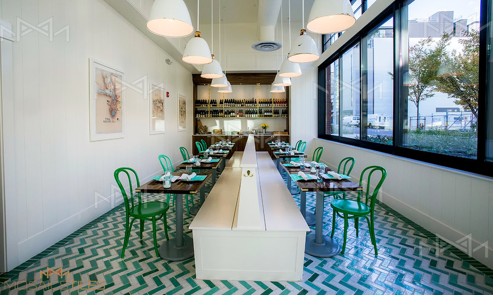 Zellige floor in restaurant