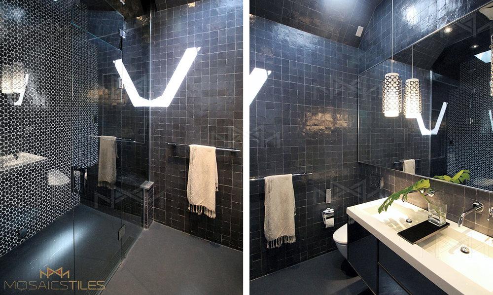 Dark grey zellige tiles