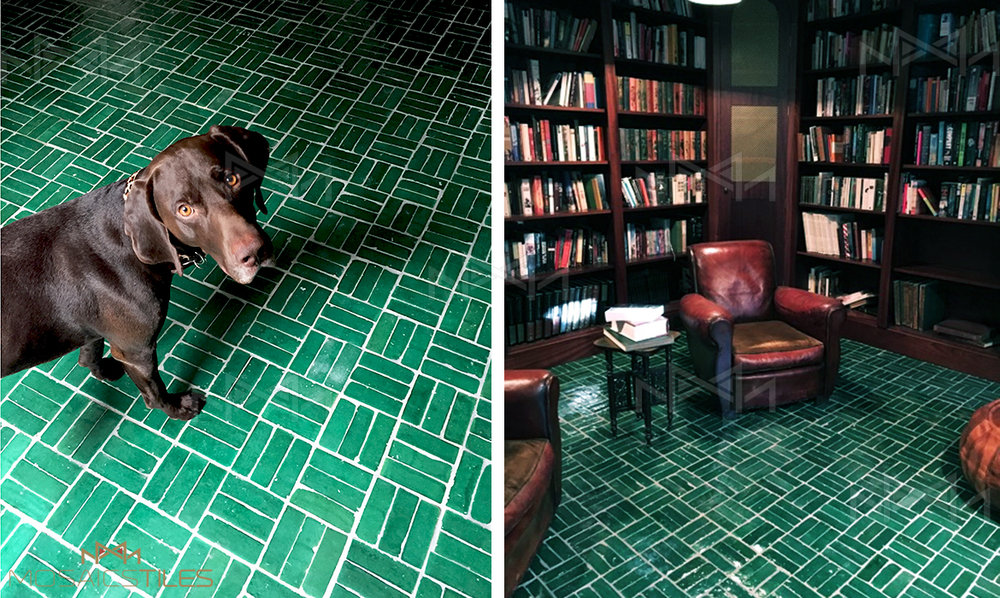 Handmade moroccan floor tiles in colour green for a traditionnal library