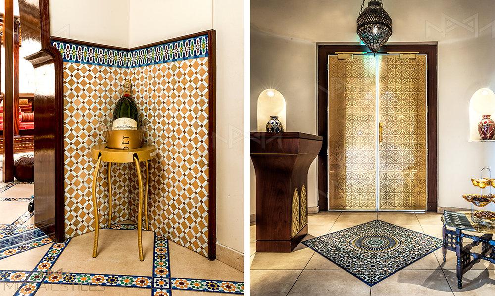 Moroccan floor and wall tiles in Kempinsky Villa Rosa, Nairobi