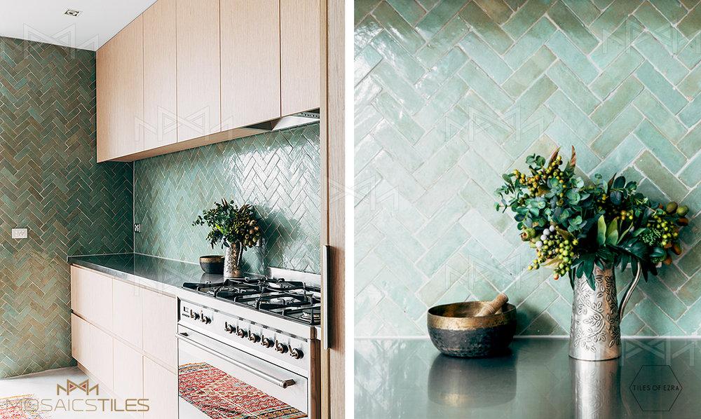 Subway tile in kitchen backsplash
