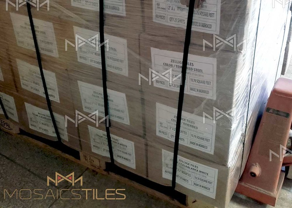zelliges packed on a pallet and ready to be shipped