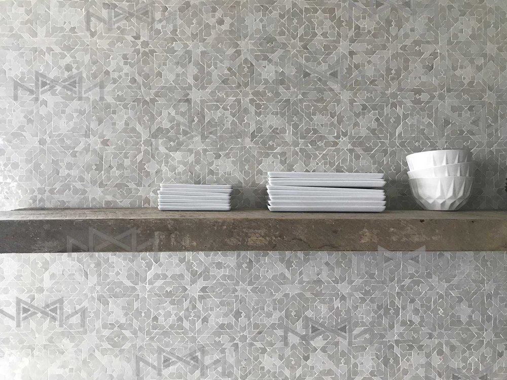Kitchen with white zellige tiles