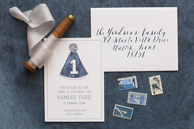 Loved creating this invite for our sweet friends son's first birthday to match his party hat for the big day 🎉 🏈 • • • • • • • • #leycolettering #calligraphy #handlettering #lettering #script #brause66ef #drphmartin #dallas #texas #wedding #engaged #engagement #photography #canon #ido #dallaswedding #weddinginvitation #diy #craft #thatsdarling #obliquepen #moderncalligraphy #cowboys #wedemboys #watercolor #firstbirthday #birthday #birthdayinvite