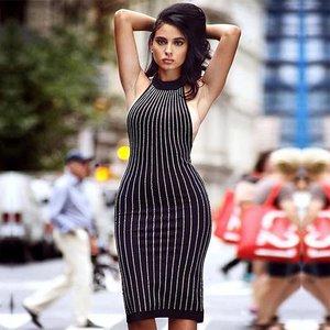 d017010838 Midi Diamente Embellished Black Bodycon Dress ...