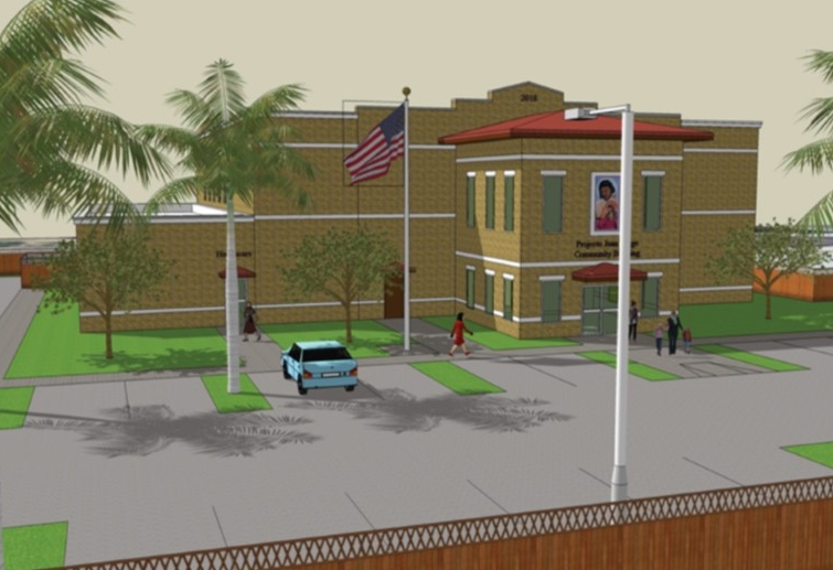 Architectural design for Proyecto Juan Diego's future building (2019).