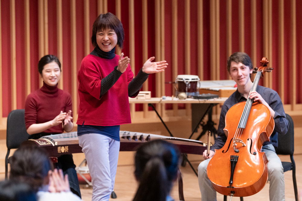Wu Man with graduate assistant Ye Yisi on zheng and Conservatory student Alexander Levinson on cello