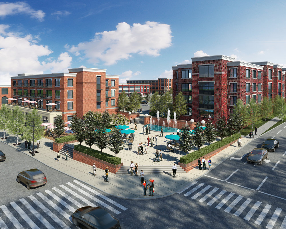 BLACKSBURG, VA – A newly-submitted proposal for the old Blacksburg Middle School site includes a corner plaza with a fountain, a central space for summer concerts or winter ice skating, and a park.