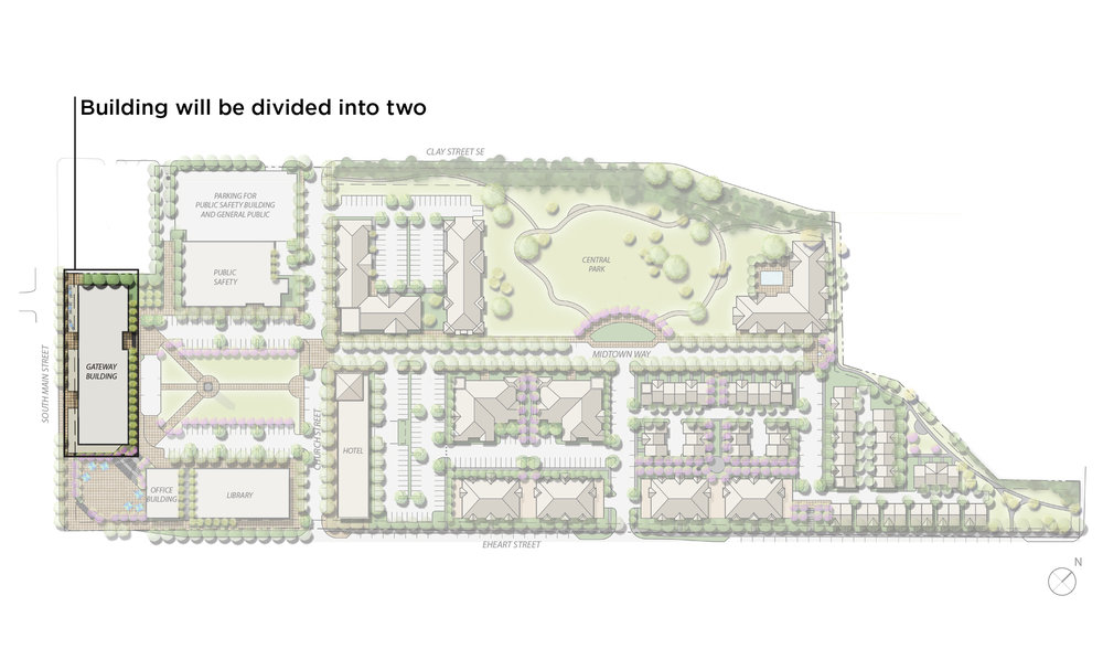 An image showing what building will be divided in two