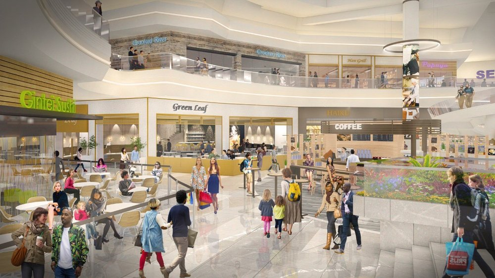 A rendering of the reimagined The Shops at Hilltop