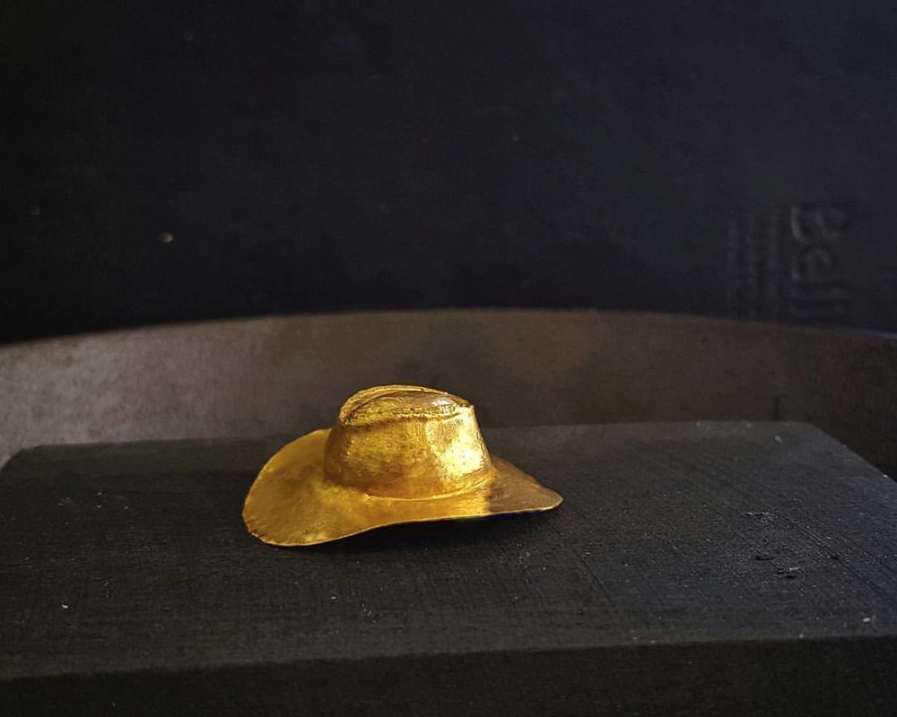 "24k Gold Stetson (study in chasing)  1"" x 1"" x 3/4"""