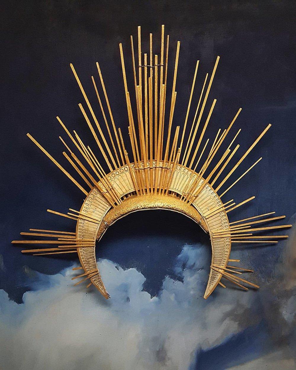 """ Bernini Halo ""  crown | wood, paper, brass, cork, gold leaf"